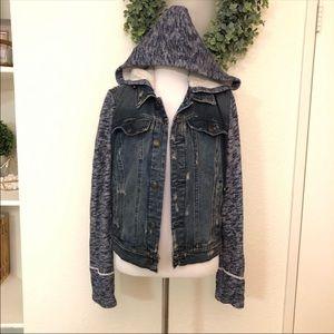 Free people knit hooded distressed denim jacket